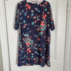 Navy Floral Tshirt Dress